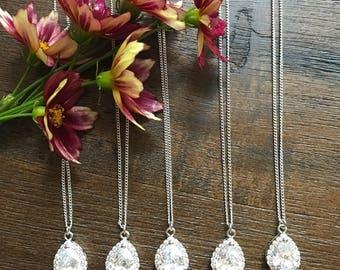 Teardrop Bridesmaid necklace set of 5, Cubic Zirconia teardrop necklace, bridesmaid Jewelry