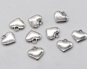10 Pcs Heart Charms Antique Silver Tone 2 Sided 11x12mm - YD1248