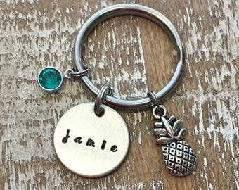Galentines Day -  - Pineapple keychain - keychain - pineapple - pineapple key chain - pineapple charm - initial keychain