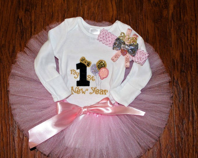 First New Year pink and gold outfit,Girls 1st New Year outfit,Pink,Gold, and Black bodysuit, Happy New Year headband,Pink tutu, Baby girl
