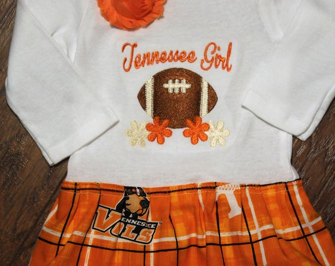 Tennessee baby girl bodysuit dress,University of Tennessee girl outfit, UT baby bodysuit, Volunteer Football dress,Orange headband,Vols