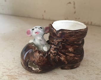 Tiny Mouse in a Boot Figurine Planter Toothpick Holder