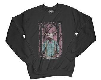 Animal sweatshirt deer sweatshirt doe sweatshirt hipster sweatshirt vintage sweatshirt bow tie sweatshirt hipster pullover   AP64