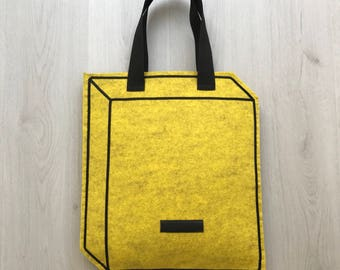 Geometric faux felt tote bag, optical illusion tote bag