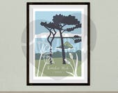 Thatcher Rock in Torquay, Devon, nature illustration, coastal giclee print, cow parsley and ribwort A4 or A3 print