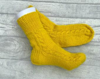 Winter Socks - Knitted Socks - Winter Slippers - Cable Knit Socks - Winter Clothes - Handknit Socks - Wool Socks - Wool Slippers