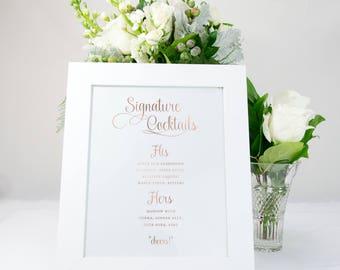 Signature Cocktails Bar Menu Sign in Rose Gold Foil, Elegant, Rustic, Send Off, Wedding Sign, Wedding Decor