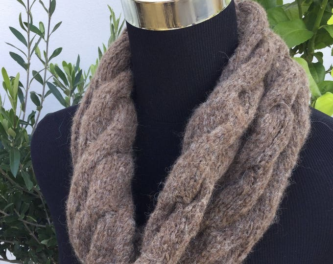 Ladies Brown Alpaca luxury cable snood by Willow Luxury