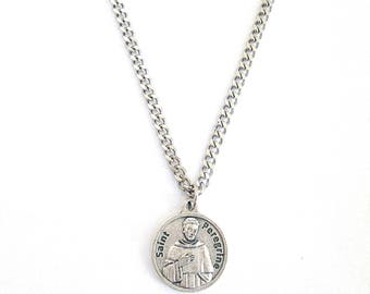 """St. PEREGRINE Medal Pendant Necklace Patron Saint Cancer 24"""" Chain  ITALY Saint Peregrine Silver Plate Necklace in BOX"""
