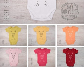 LATE SHIP SALE Gender Neutral Baby Gift, Funny Baby Shower Gift, New Dad Gift, You Can Do This Dad Baby Bodysuit, Funny Gift For New Dad, Fi
