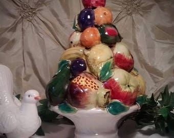 ON SALE Vintage Italian Majolica Ceramic Fruit Topiary