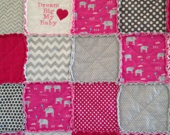 Baby Girl Quilt, Baby Elephant Quilt, Pink Quilt, Elephant Blanket, Baby Quilt Handmade, Homemade Baby Quilt, Crib Quilt, Quilt For Baby