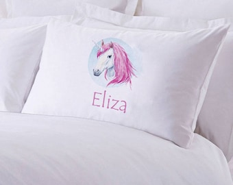 "Monogrammed Unicorn Pillowcase 30"" x ""20"