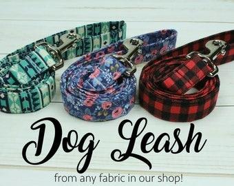 Dog Leash, Fabric Dog Leash, Custom Dog Leash, 4 Foot Dog Leash, 5 Feet Dog Leash, 6 Feet Dog Leash, Matching Dog Leash, Fabric Leash, Dog