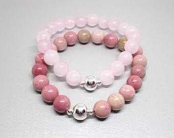 Gemstone bracelet set, stack bracelet set, bracelet stack, bracelet set, gemstone stacking bracelet, pink bracelet, love stones jewelry, gem