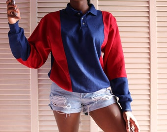 Vintage 90s striped polo sweater