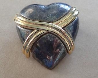 Pewter Gold Heart Brooch