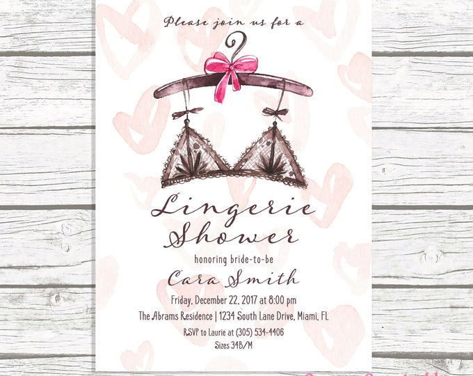 Lingerie Shower Invitation, Lingerie Bridal Shower Invitation, Pink Watercolor Lingerie Invitation, Ooh La La Lingerie Shower Printable