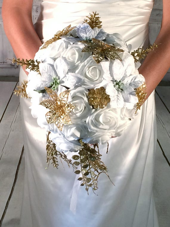 Gold And White Winter Wedding Bouquet Poinsettia Bouquet