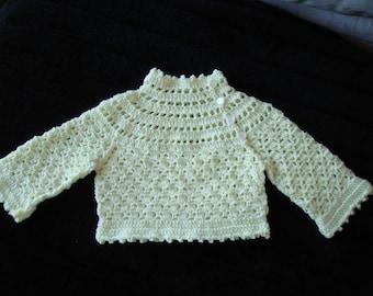 Baby Girl Jumper crocheted in 4 ply Bella Baby Wonder in Lemon