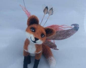 Needle Felted Fantasy Animal, Faerie Fox Sculpture