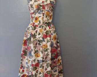Vintage Fit and Flare Floral Print Halter Dress 80's does 50's Pin Up Sun Dress Cotton Midi Size 8 Bra Top Flowers Garden Party Rockabilly