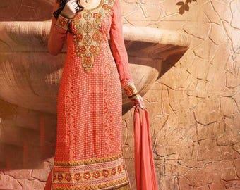 Indian Pakistan Bollywood  Designer Women Ethnic Orange Colored Cotton Salwar Suit Salwar Kameej Anarkali Dress Women Dress