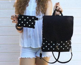 Black Mickey Mouse Backpack, Mini Disney Rucksack, Disney Minnie Backpack, Vegan Backpack Festival Wear, Disney Backpack, Disney Bag Set