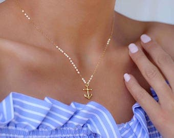 Anchor Necklace/ Anchor Charm Necklace/ Gold Anchor Necklace/ Gold Anchor Necklace/ Tiny Gold Anchor Charm Necklace/ Gold Anchor Charm