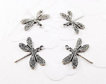 4Pcs Victorian antique silver plated dragonfly, dragonfly charm, silver dragonfly, dragonfly pendant #A177