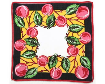 Graphic Juicy Apples or Cherries vintage ladies' handkerchief, fruit hankie, hanky, 1940s 1950s