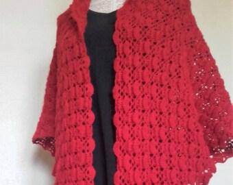 vermilion red shawl in pure alpaca wool openwork shawl scarf