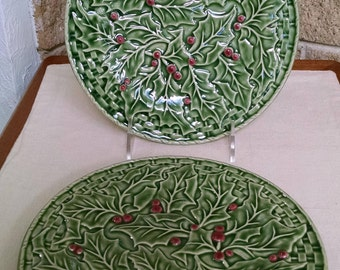 Bordallo Pinheiro Christmas Service Salad Plates - 8.25 Inch Holly Plates - Set of 2 - Vintage Dinnerware - Holly with Berries - Portugal