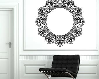 Wall Art Mural Arab Circle Beautiful Ornament Pattern Living room Decal (#2713dn)