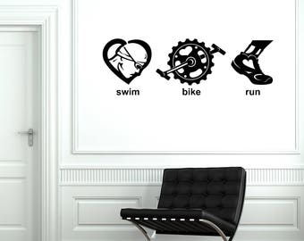 Triathlon Vinyl Wall Decal Swim Bike Run Sports Art Room Decor Stickers Mural (#2608di)