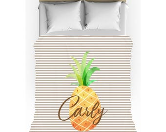 Pineapple Stripes Personalized Duvet Cover - Twin, Queen, King - Optional Pillow Shams