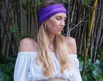 Purple Headband / Yoga Workout Headband / Fitness Headband / Running Headband / Boho Wide Headband / Womens Headbands / Hippie Headband
