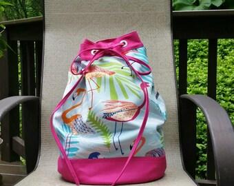 Flamingo, Beach bag, Summer bag, Large beach bag, Colorful bag, Fabric bag, Drawstring bag, Unique tote, sling bag, Outdoor bag, pool tote