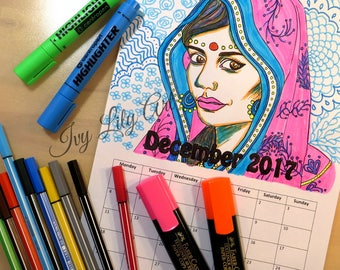 Printable Coloring Calendar December 2017 | Indian Girl | PDF Download