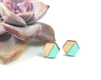 Hexagon Earrings, Wood Stud Earrings, Geometric Earrings, Hex Studs, Laser Cut Wood Earrings, Laser Cut Wood Jewelry, Gifts Under 20,
