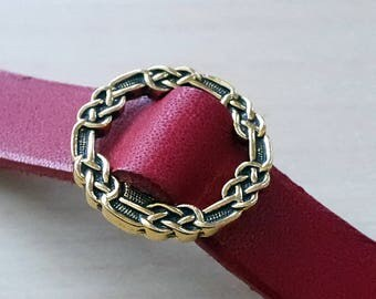 Red Celtic Knot Pewter Leather Ring with / 3rd anniversary / 9th anniversary / 10th anniversary gift