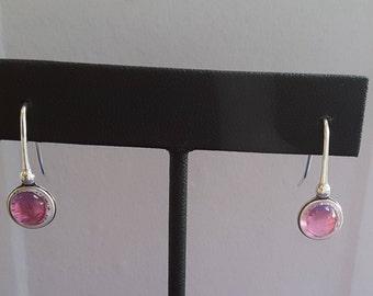 Pink Sapphire silver earrings