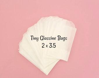 25 Glassine bags 2 x 3.5. Tiny glassine bags. Teeny glassine bags. wedding confetti bags. mini confetti bags. wedding throw bags. flat bags