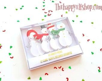 Meri Meri Christmas party picks. Christmas cupcake topper. Christmas party decor. Christmas tableware. Christmas party. Snowman toppers