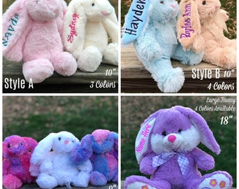Easter gift etsy personalized easter bunnies plush easter bunny monogram bunny easter gift kids easter negle Images