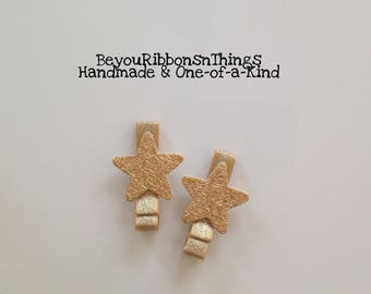 Glitter Gold Stars | Hair Clips for Girls | Toddler Barrette | Kids Hair Accessories | Gold Ribbon | No Slip Grip | Christmas | Holidays