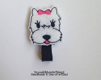 White Dog | Pink Bow | Hair Clip for Girls | Toddler Barrette | Kids Hair Accessories | Black Grosgrain Ribbon | Felties |No Slip Grip