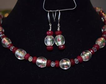 Rose lampwork and garnet necklace
