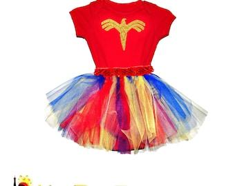 Wonder Woman Inspired Tutu set with RED top - DC Comics Heroin Girl