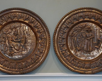 Pair of Copper Plates with Welsh Domestic Images/ Spinning Wheels
